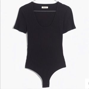 Madewell Cameo Scoop Ribbed Bodysuit Black T Shirt